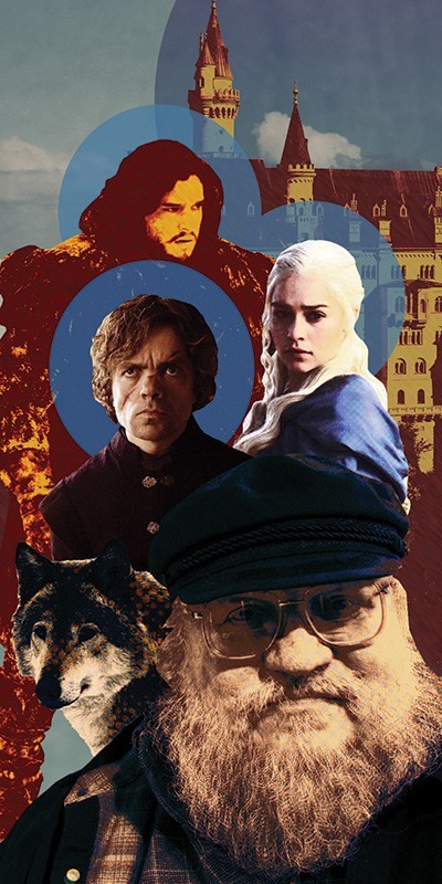 Game of Thrones Cast members Kit Harington, Emilia Clarke and Peter Dinklage, and Bayonne-bred author George R.R. Martin. Illustration by Peter Horvath.
